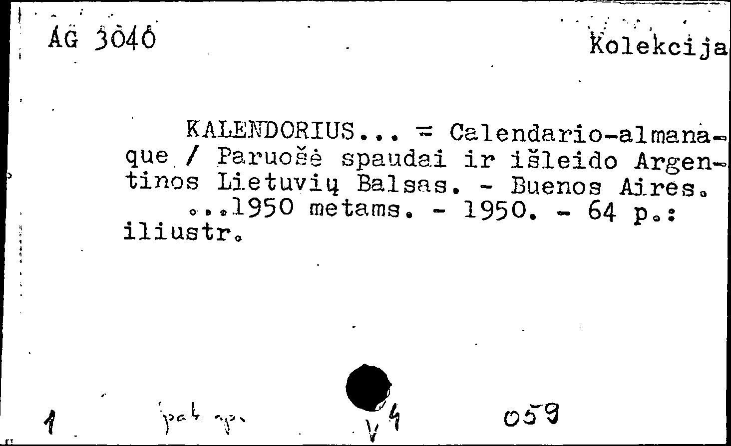 Calendario 1950.Vilniaus Universiteto Biblioteka Kortelių Vaizdų Katalogas